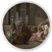 Young Athenian And Athenian Casting Lots To Be Delivered To The Minotaur Round Beach Towel
