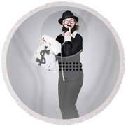 Young Business Person Holding Money At Bank Teller Round Beach Towel