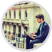 Young Businessman Working On Wall Street In New York Round Beach Towel