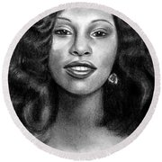 Young Chaka Khan - Charcoal Art Drawing Round Beach Towel