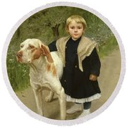 Young Child And A Big Dog Round Beach Towel by Luigi Toro