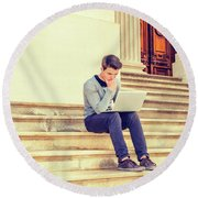 Young College Student Studying In New York 15042516 Round Beach Towel