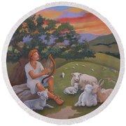 Young David As A Shepherd Round Beach Towel