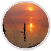 Young Fishermen At Sunset Round Beach Towel