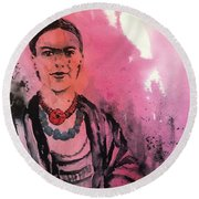 Young Frida Round Beach Towel
