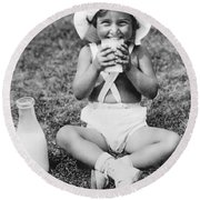 Young Girl Drinking Milk Round Beach Towel