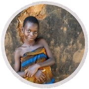Young Girl In A Togo Village  Round Beach Towel