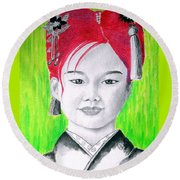 Young Japanese Beauty -- The Original -- Portrait Of Japanese Girl Round Beach Towel