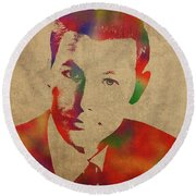 Young Johnny Carson Watercolor Portrait Round Beach Towel