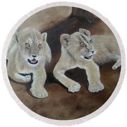 Young Lions Round Beach Towel