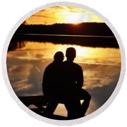 Young Love And Sunsets Round Beach Towel