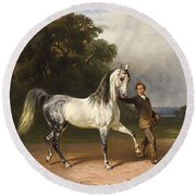 Young Man With A Bareback White Horse Round Beach Towel