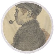 Young Man With A Pipe Nuenen, March 1884 Vincent Van Gogh 1853 - 1890 Round Beach Towel