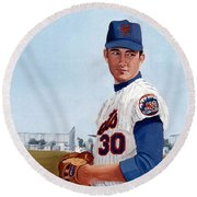 Young Nolan Ryan - With Mets Round Beach Towel