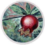 Young Pomegranate Round Beach Towel