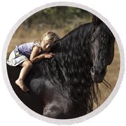 Young Rider Round Beach Towel