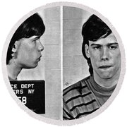 Young Steven Tyler Mug Shot 1963 Pencil Photograph Black And White Round Beach Towel