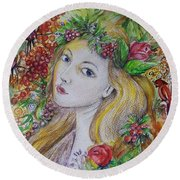 Young Summer  Round Beach Towel by Rita Fetisov