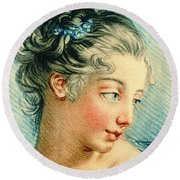 Young Woman 1760 Round Beach Towel by Padre Art