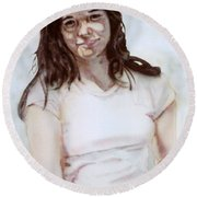Young Woman Round Beach Towel