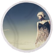 Young Woman Standing On The Beach Round Beach Towel