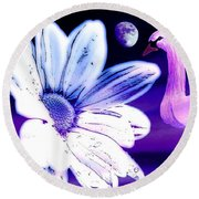 Round Beach Towel featuring the painting Your Beauty With Swan Moon And White Flower by Annie Zeno
