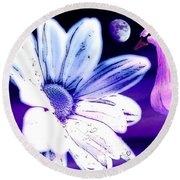 Your Beauty With Swan Moon And White Flower Round Beach Towel