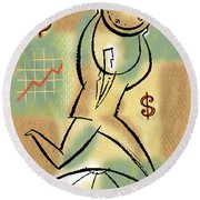 Round Beach Towel featuring the painting Your Income by Leon Zernitsky