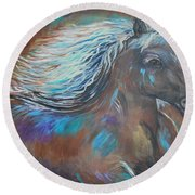 Round Beach Towel featuring the painting Your Majesty by Leslie Allen