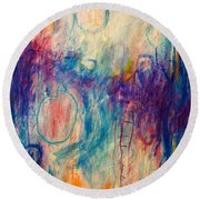 Round Beach Towel featuring the painting Your Secret Is Safe With Me by Tracy Bonin