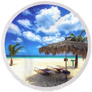 You're Invited To Aruba Round Beach Towel