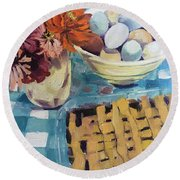 Round Beach Towel featuring the painting yt by Chris Gholson