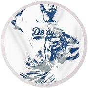 Yu Darvish Los Angeles Dodgers Pixel Art 5 Round Beach Towel