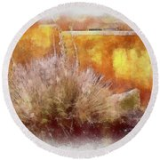 Yucca And Adobe In Aquarelle Round Beach Towel