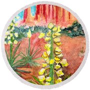 Yucca In Monument Valley Round Beach Towel