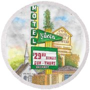 Yucca Motel And Little Chapel Of The Flowers, Las Vegas, Nevada Round Beach Towel