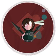 Round Beach Towel featuring the digital art Yuffie by Michael Myers