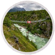 Yukon Suspension Bridge Round Beach Towel