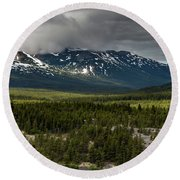 Round Beach Towel featuring the photograph Yukon Wilderness by Ed Clark