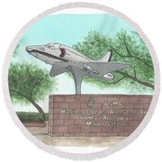 Round Beach Towel featuring the painting Yuma Welcome by Betsy Hackett