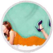 Round Beach Towel featuring the digital art Yvette by Nancy Levan