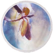 Winter Abstract - Snow And Ice On Rhododendron Leaves Round Beach Towel