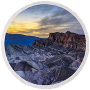 Zabriskie Point Sunset Round Beach Towel by Charles Dobbs
