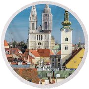 Zagreb Cathedral And St. Mary's Church Round Beach Towel by Steven Richman