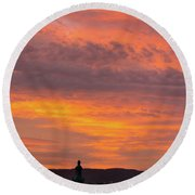 Zagreb Sunset 5 Round Beach Towel