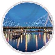 Zakim Bridge And Charles River At Dawn Round Beach Towel