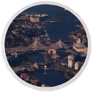 Round Beach Towel featuring the photograph Zakim Bridge In Context by Rona Black