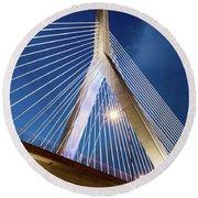 Zakim Bridge Upclose Round Beach Towel