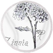Zannie Zinnia Round Beach Towel
