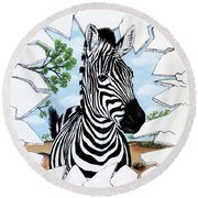 Round Beach Towel featuring the painting Zany Zebra by Teresa Wing